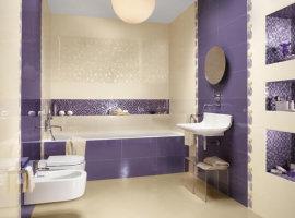 плитка в ванную комнату фиолетовая