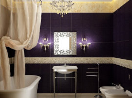 дизайн фиолетовой ванной комнаты фото