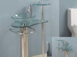 Стеклянные раковины для ванной  на подставке
