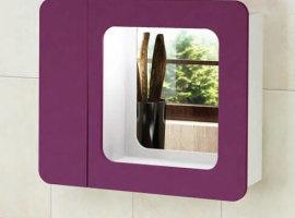 Зеркало для ванной Адажио фиолетовое 80см шкафчик слева Меркана