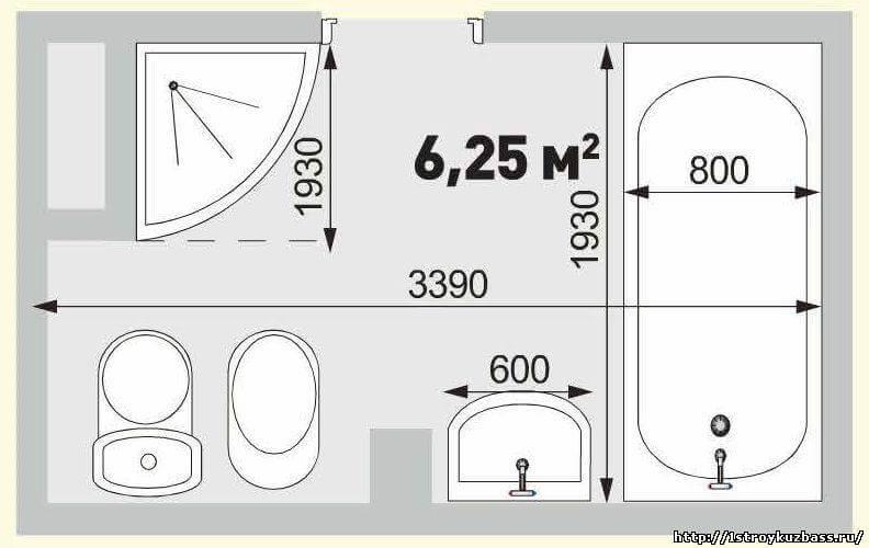 Варианты планировки ванной 6 кв м