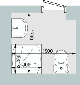 План ванной комнаты с душевой кабиной