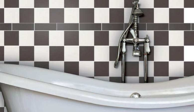 Раскладка плитки в ванной Шахматный способ