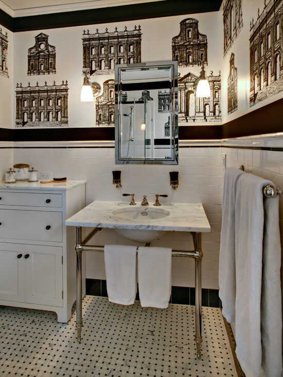 Ванная комната черно белая дизайн