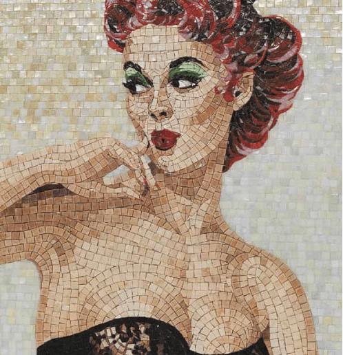 Портрет девушки из мозаики на стене