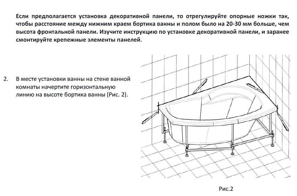 Схема монтажа экранов для ванн