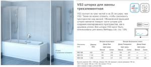 VS3 шторка для ванны трехэлементная