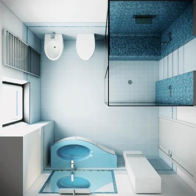 Маленькая ванная комната с душем вместо ванны