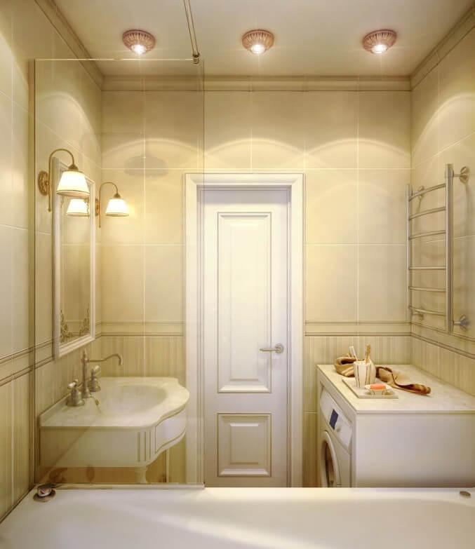 Дизайн ванной комнаты и туалета в классическом стиле