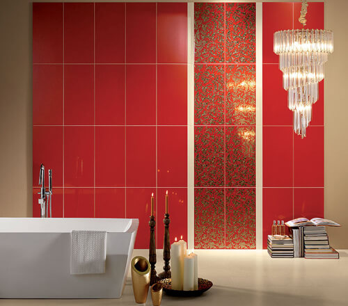 Красная ванна комната в китайском стиле