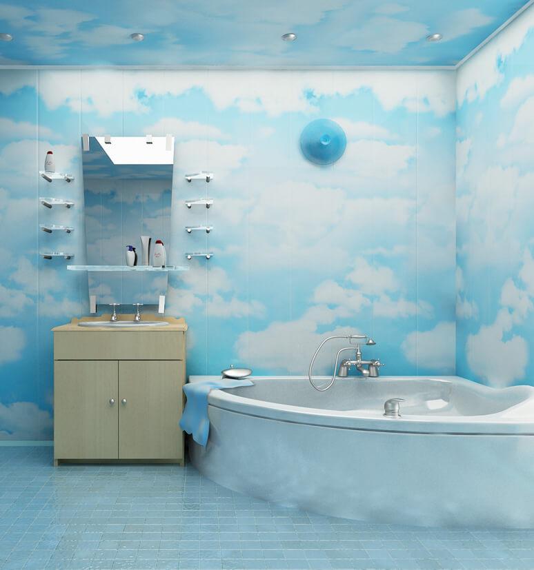 Необычный дизайн ванной, в синем цвете