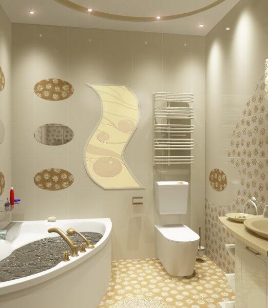 Дизайн ванной комнаты и туалета в стиле модерн