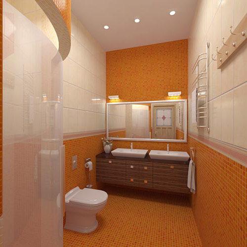 Оранжевая ванная комната с душевой кабиной