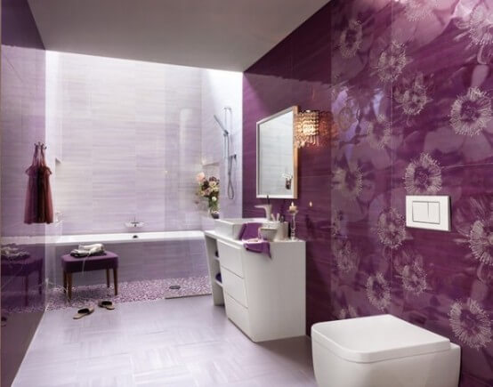 Фиолетовая ванная комната дизайн фото