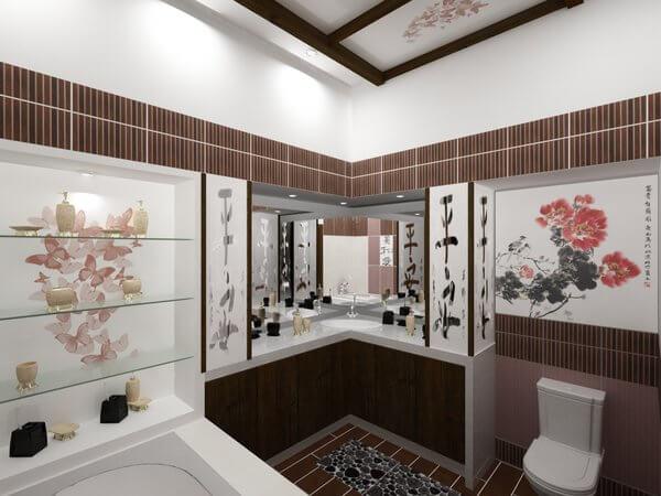 Дизайн ванной комнаты и туалета в японском стили