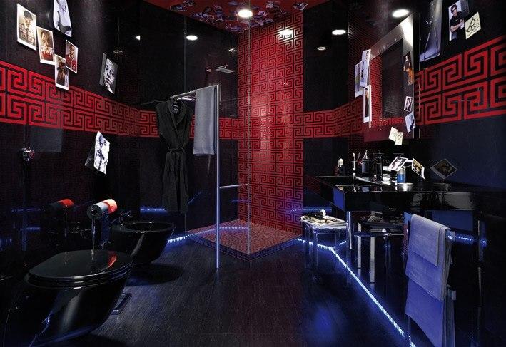 ванная комната черно красная фото
