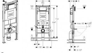 Схема рамной инсталляции встроенного унитаза